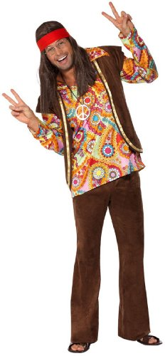 Smiffy's Men's Psychedelic 1960's Hippy Costume, Shirt, pants and Waistcoat, 60's Groovy Baby, Serious Fun, Size L, 34064 - Mens 60's Halloween Costumes