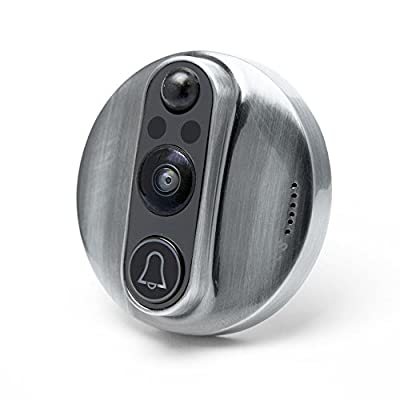 World's Smartest Video Doorbell - Eques VEIU Rechargeable Door Camera Peephole Viewer for Your Home Security - WIFI Enabled - Night Vision - Large LED Touch Screen - iOS & Android
