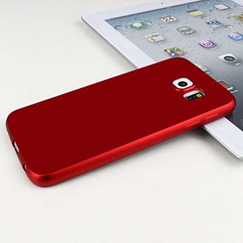 Caja para la caja Bolsa borde Samsung Galaxy S6 goma mate ultra fina de silicona Negro de teléfono para el borde Samsung Galaxy S6 rojo