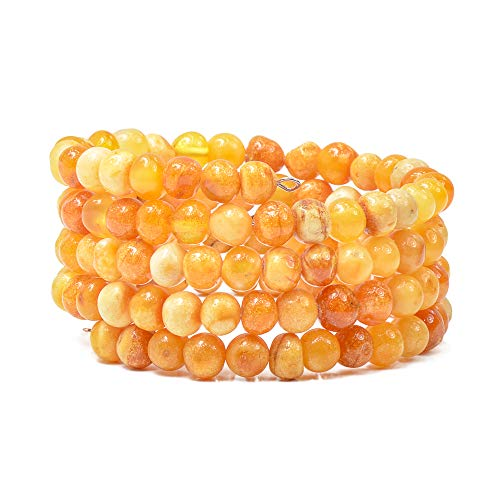 Genuine Baltic Amber Bracelet for Women - Made on Memory Wire - Handmade Natural Amber Beads Jewelry for Adult (Butterscotch)
