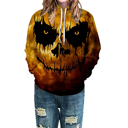 KLFGJ Women Long Sleeve Hoodie Sweatshirt for Halloween Witch Print Blouse Plus Size Tops