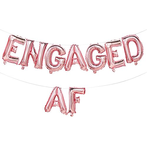 Engaged AF Balloons Rose Gold | Engaged AF Foil Letter Balloons Banner | Engagement Party Decorations Rose Gold | Engagement Party Supplies | 16inch