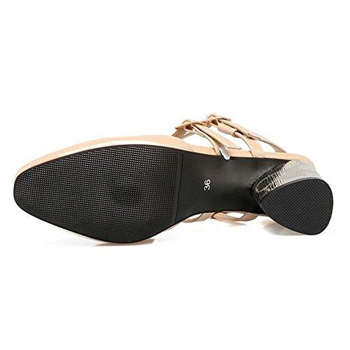 FANIMILA Mujer Moda Cerrado Open Back Sandalias Tacon medio Zapatos Albaricoque