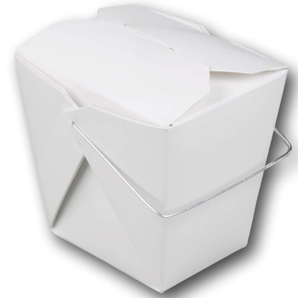 "[50 Pack] 16 oz 4 x 3"" Wire Handle Rectangle Paper Take Out Food Containers, Plain White Half Quart Chinese Asian to Go Boxes"