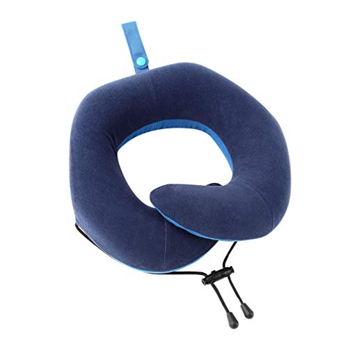 GUOZHEN Chin Supporting Travel Pillow, Memory Foam Neck Pillow Supports Head, Neck & Chin in All Sitting Position, Washable, Adjustable, Navy
