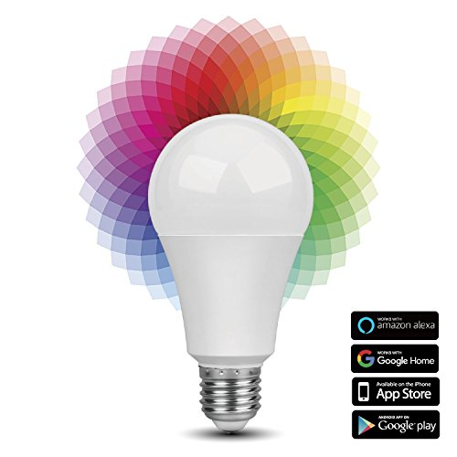 Smart WiFi LED Light Bulb - Wireless Multicolored Home Automation Lighting Support Amazon Echo Alexa Google Home iPhone & Android Smartphone Remote Control Wake Up Timer Dimmable 7W RGB E27 600lm