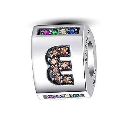 Glamulet Art Women's 925 Sterling Silver Letter Alphabet A - Z Triangular Barrel Charm Fits Pandora Bracelet