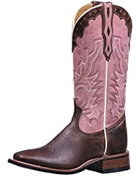 Boulet Western Boots Womens Wide Square Toe Rider Roper Brown 5156
