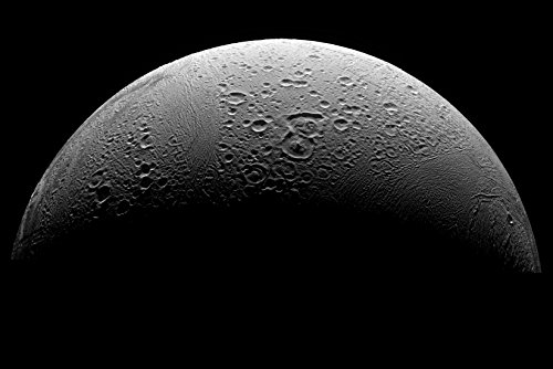 Poster Enceladus Moon Of Planet Saturn Taken From Cassini Spacecraft
