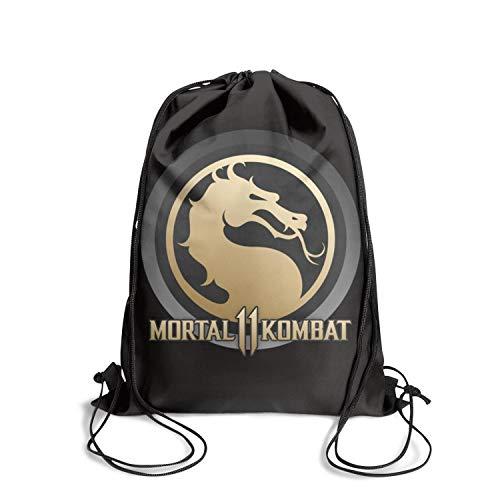 Mortal-Kombat-11-logo- Drawstring Backpack Adjustable Gym Sack Bag ()