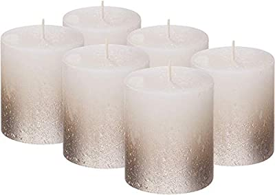 BOLSIUS Set of 6 Rustic Metallic Unscented Pillar Candle with Silver Coated Bottom - Nice Candles - Pillar Candles - Home & Party Decorations by BOLSIUS