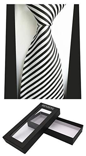 (MENDENG New Black and White Stripe Tie Men's Silk Neckties Wedding Ties Gift)