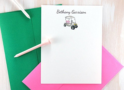 Personalized Stationery Set, Golf Gifts for Women, Golf Cart Stationary Set for Mom, Golf Gifts, Ladies Golf, Thank You Note Cards Set of 12