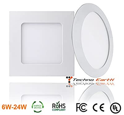 Techno Earth Dimmable Ceiling Panel Led Ultra Thin Glare Light Kits with Led Driver AC 85-265V - 2 Pack