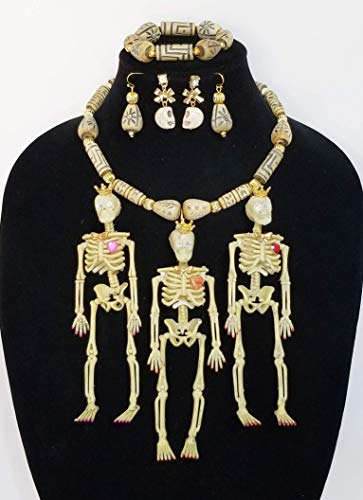 3 Skeleton Ladies Halloween Costume Necklace Earrings Carved Turquoise Skulls Beads One of a Kind