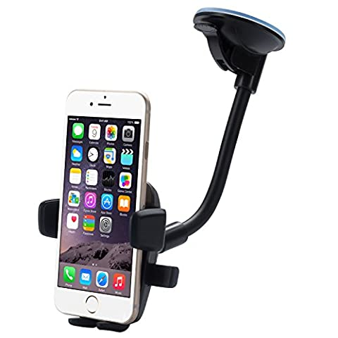 Car Mount,Dreamore Long Arm Universal Windshield Dashboard Cell Phone Holder with Strong Suction Cup for iPhone 7 Plus 6 Plus 6S 5S SE Samsung Galaxy S6 S7 Edge (Black (Long Arm))