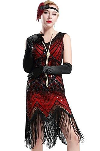 BABEYOND Women's Flapper Dresses 1920s V Neck Beaded Fringed Great Gatsby Dress (Medium, (1920s Dresses Gatsby)