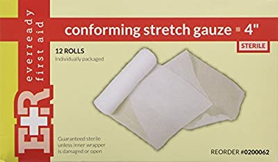 "First Aid Only 4"" Sterile Conforming Gauze Roll Bandage, 12-Count Bags"