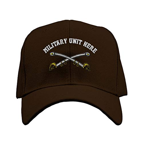 (Custom Baseball Hat Cavalry Crossed Sabers - Cav Brass Sewed Unit Acrylic Structured Cap Hook & Loop - Brown, Personalized Text Here)