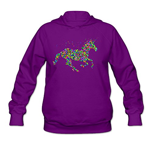 RABBEAT Women's Hoodies Rainbow Unicorn Size L Purple