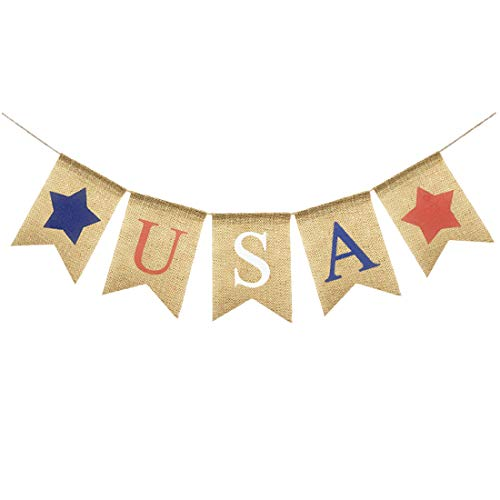 Uniwish USA Letters Banner Patriotic 4th of July Party Decor