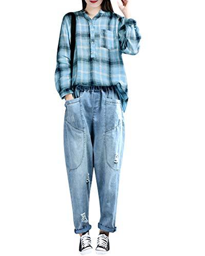 Bigassets Coton Taille Jeans Élastique Style Sarouel 4 Bleu Clair Femmes Denim DHIYEW29