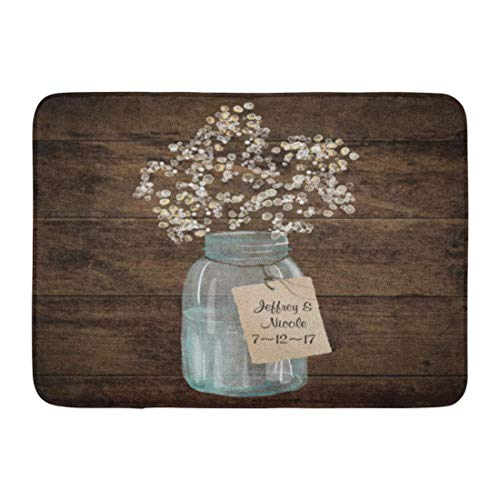 "AMarlly Custom Doormats Rustic Barn Wedding Wood Mason Jar Babys Breath Home Door Mats 15.7""x 23.6"" Inches Entrance Mat Floor Rug Indoor/Outdoor/Front Door/Bathroom Mats Rubber Non Slip"