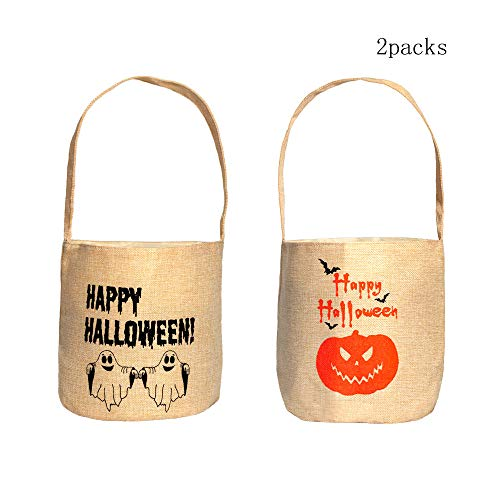 Halloween Tote Candy Bags,2 Packs Trick or Treat Bags Party Goodie Tote Bags for Party Favors with Handle by Eastking