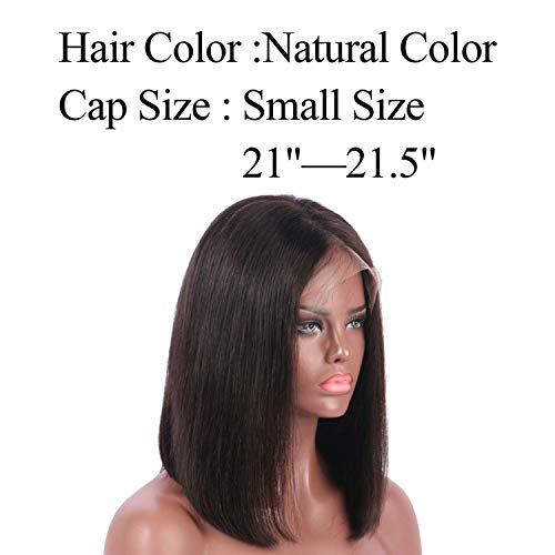 13x6 Lace Front Human Hair Wigs Short Bob 150% PrePlucked Deep Part Frontal Straight Non-remy Hair For Women,#1B,12inches]()