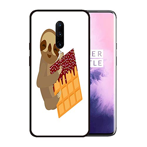 (Case for OnePlus 7 pro,Silicone Cover and Tempered Glass 2 Materials,Non-Slip, Anti-Drop, Anti-Scratch,Depict- Funny and Cute Smiling Three Toed Sloth with Belgian Waffle with Chocolate)