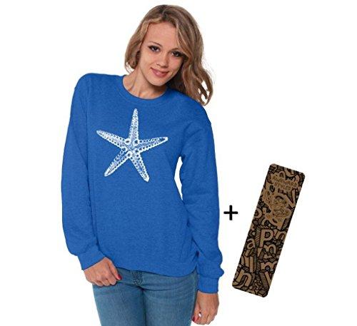 (Awkwardstyles Women's Sea Star Crewneck White Starfish Sweatshirt + Bookmark L Blue)