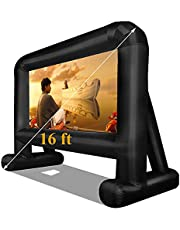 """16 Feet Inflatable Movie Screen - Front/Rear 124"""" Large Projector Screen Backyard Outdoor Movie Night Mega Blow Up Screen (Easy Setup) - 16 FT"""