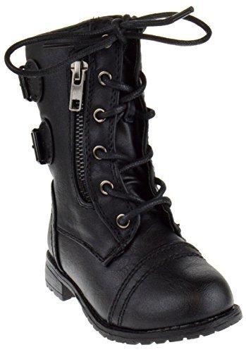 Link Mango-61Ka Baby Girls Combat Lace Up Boots Black Toddler,Black,8 ()