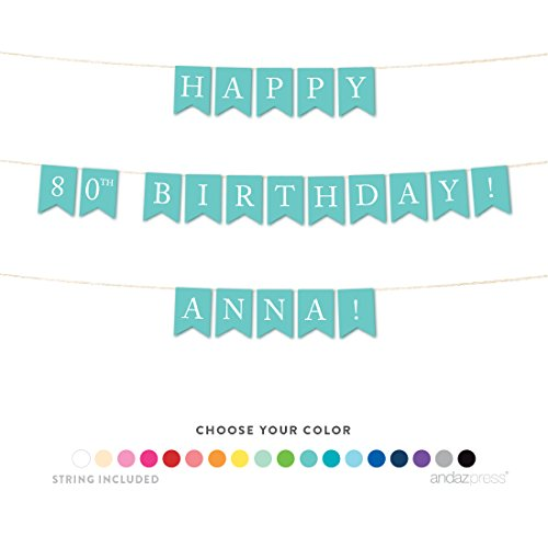 Andaz Press Personalized Hanging Birthday Party Pennant Banner with String, Happy 80th Birthday Anna!, 6-Feet, 1-Set, Custom Name and Color ()