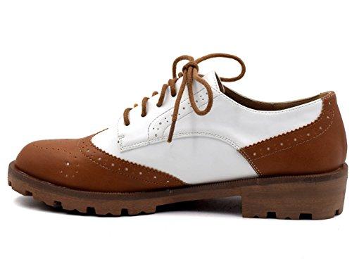 Maxmuxun - Zapatos con cordones estilo oxford para mujer Brown-White