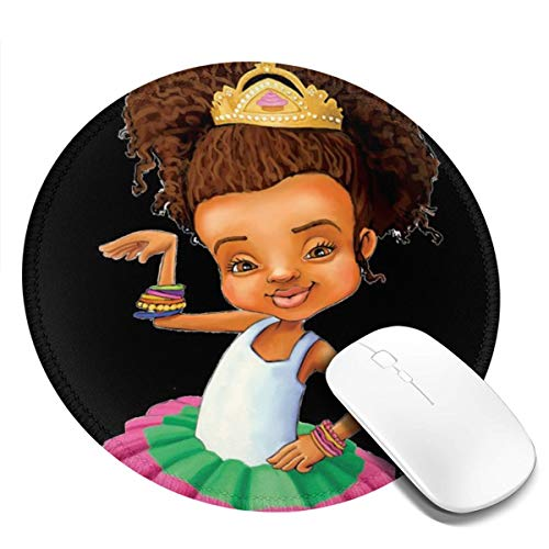 Afro High Puff Kid Girl Big Bun Ponytail Personalized Round Mouse Mat Small Circular Pad with Design Gaming Computer Mousepad Accessories Stitched Edges Cute Office for Girls Women -