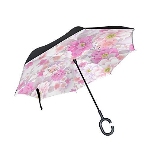 (All agree Reverse Umbrella White Pink Cherry Blossom Inverted Umbrella Reversible for Golf Car Travel Rain Outdoor Black)