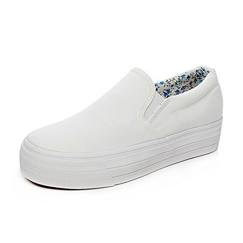 Popuus Womens Trendy Platform Canvas Shoes Loafers White kqyixWkq