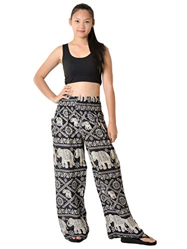 Junior Elephant - Orient Trail Women's Bohemian Elephant Design Yoga Wide Leg Harem Pants Small Elephant Black