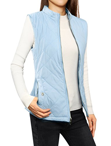 Allegra K Women's Stand Collar Lightweight Gilet Quilted Zip Vest Baby Blue Small