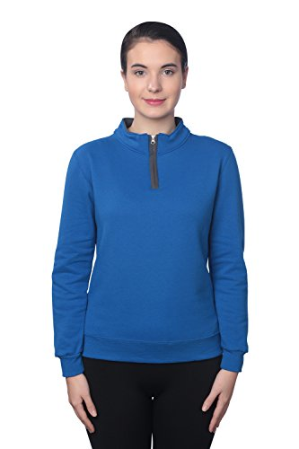 Fruit of the Loom Women's 1/4 Zip Fleece Sweatshirt, Royal/Charcoal Grey, (0.25 Zippers Fleece)