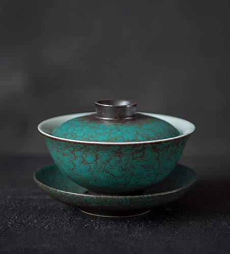 DehuaYao Chinese Traditional Green Porcelain Gaiwan ceramic Tea Cup(Tea Cup Comprised of Cup, Saucer and Lid )