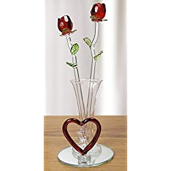 Roses - Red Glass Flowers in Glass Vase - I Love You Forever for Girlfriend, Wife, Mom