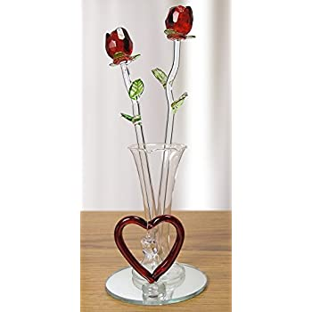 Amazon Roses Red Glass Flowers In Glass Vase I Love You