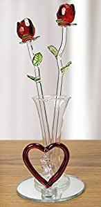 Valentine's Day Red Glass Rose Flowers in Glass Vase - I Love You Forever for Girlfriend, Wife, Mom - Valentine