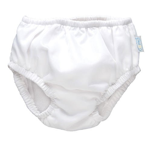 i play. Toddler Snap Reusable Absorbent Swim Diaper, White, 3T-4T