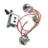 2T1V Electric Guitar 500K Pots Control Knobs 5-Way Switch with Jack Wiring Harness Kit for Strat Style Guitar...