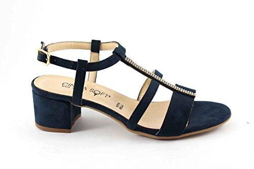 Cinzia Suave 68555 Azules Zapatos de Cuero Sandalias Viejo brazalete de Las Mujeres Blu