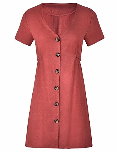 donne Button Abiti Tinta Corte Curve down collo V Maniche Pattern4 Coolred Unita qqwOC1