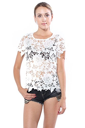 Lydia Pattern (Sexy Floral Crochet Pattern knit Short Sleeve Blouse Top (Large, White))
